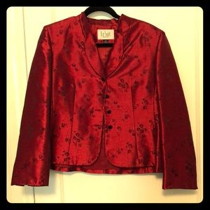 Le Suit Red Petite Jacket and Skirt